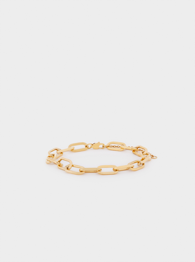 Adjustable Steel Bracelet, Golden, hi-res