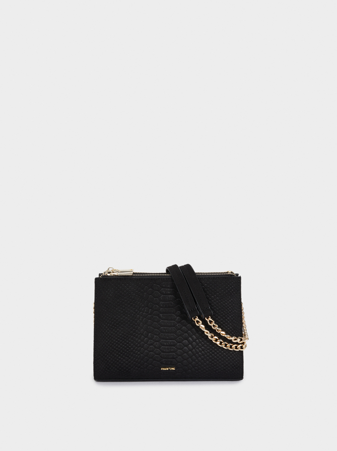Embossed Crossbody Bag With Contrast Strap, Black, hi-res