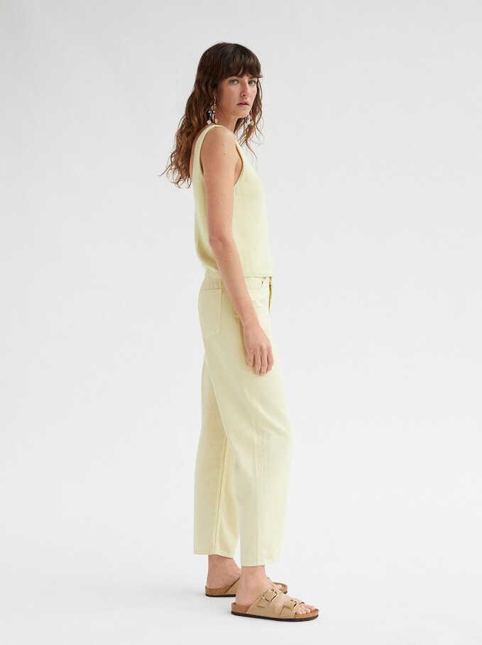 Pantalon Droit Taille Haute Limited Edition, Jaune, hi-res