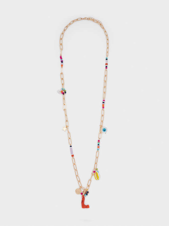 Long Necklace With Charms, Multicolor, hi-res