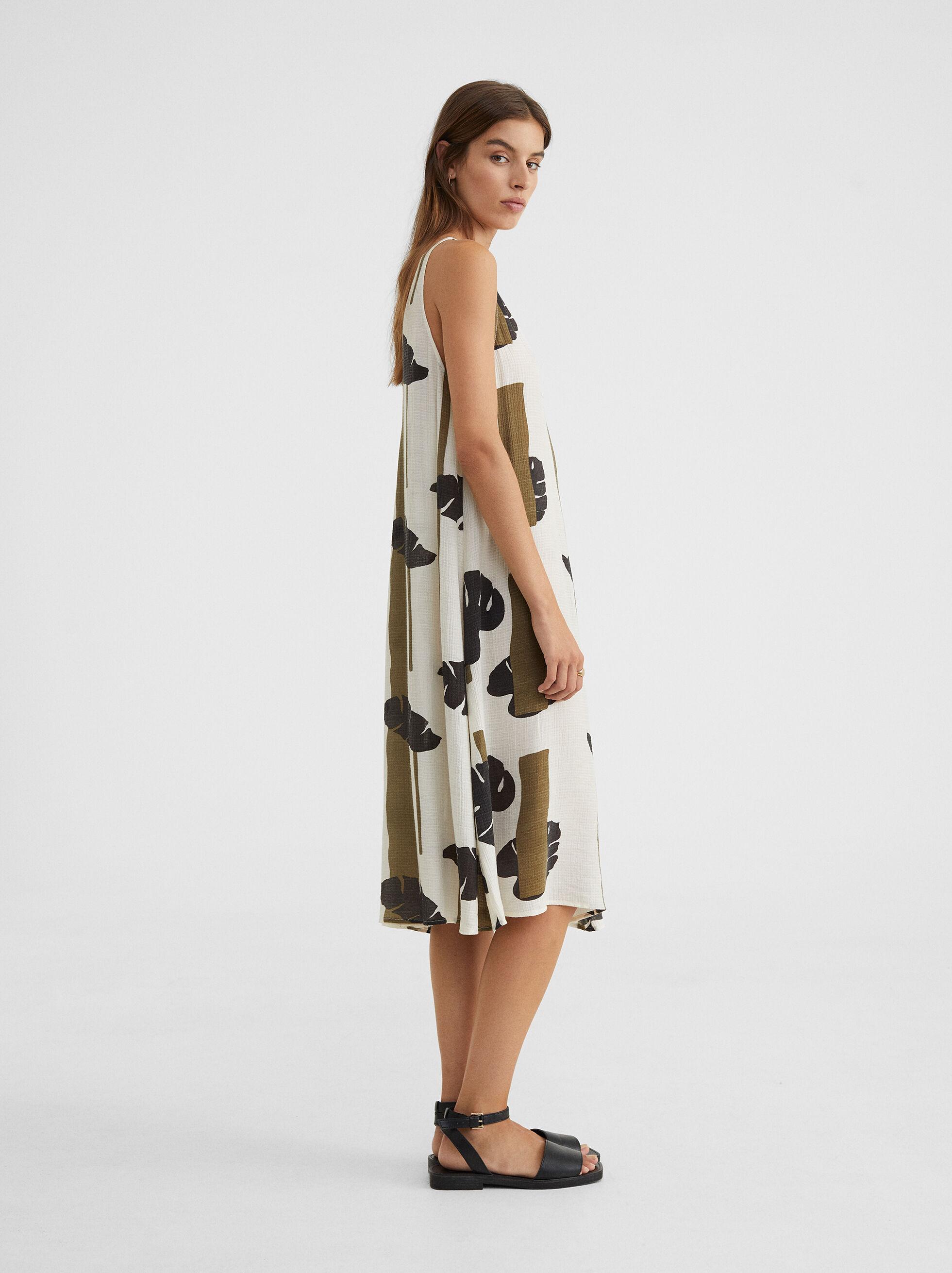 Leaf Print Strappy Dress, Khaki, hi-res