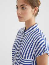 Striped Shirt Dress, Blue, hi-res