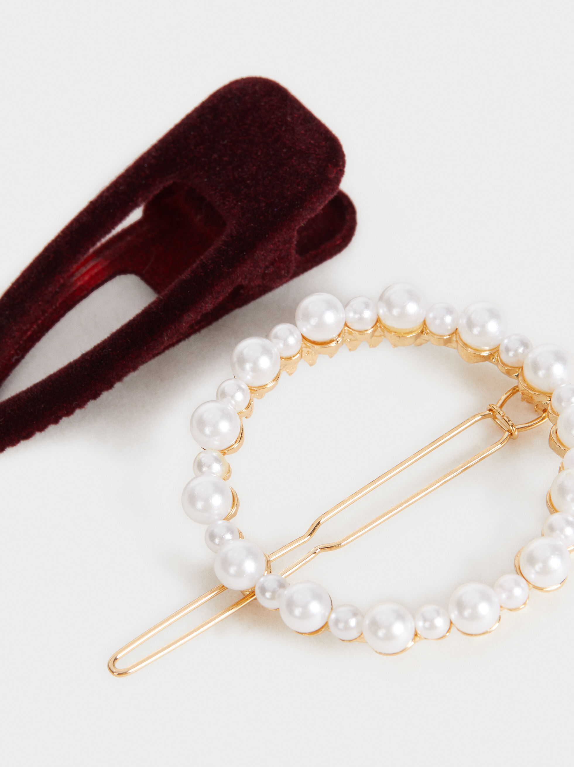 Set Of Faux Pearl And Velvet Hairslides, Multicolor, hi-res