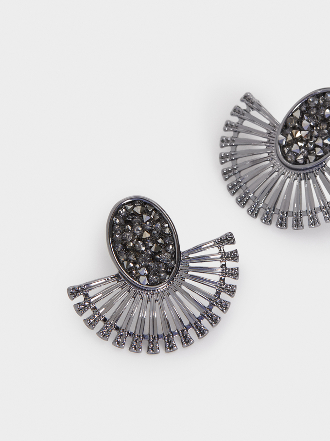 Small Earrings With Multicolour Crystals, Grey, hi-res