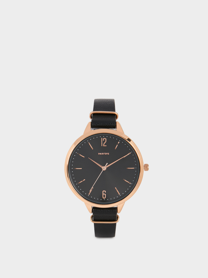 Watch With Faux Leather Wristband, Black, hi-res