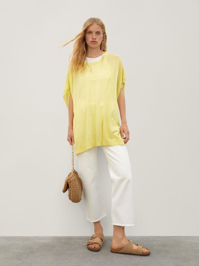 Camisola De Malha Com Decote Redondo, Amarelo, hi-res