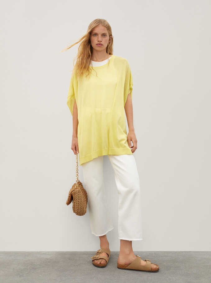 Round-Neck Knit Sweater, Yellow, hi-res