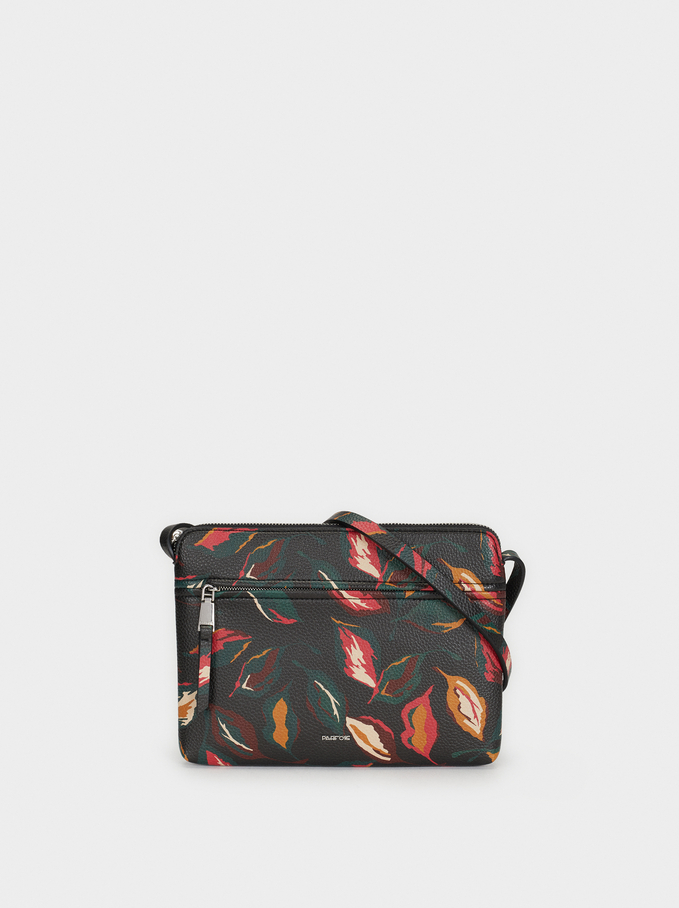 Floral Print Crossbody Bag, Black, hi-res