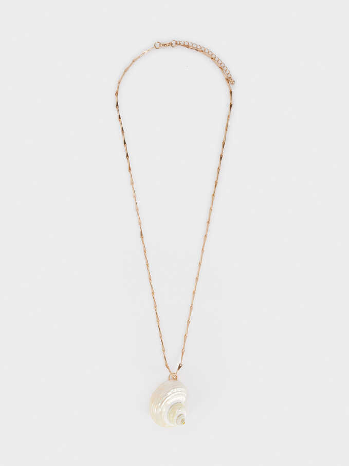 Long Necklace With Seashell Pendant, Golden, hi-res