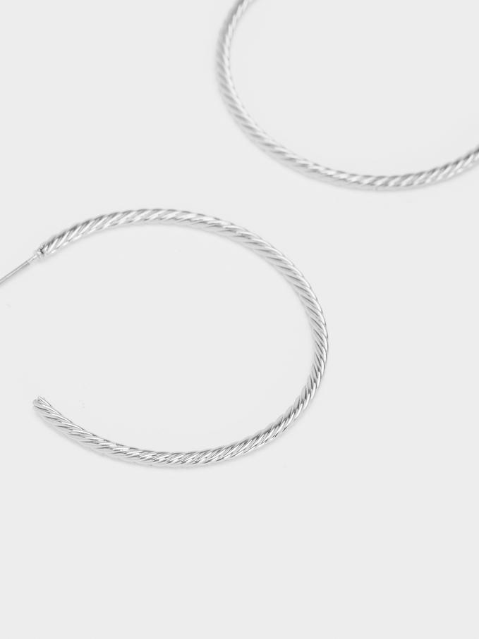 Silver Hoop Earrings, Silver, hi-res
