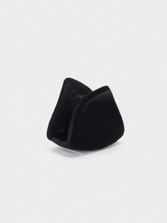 Velvet Hair Clip, Black, hi-res