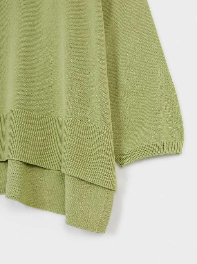 Jersey De Punto Cuello Pico, Verde, hi-res