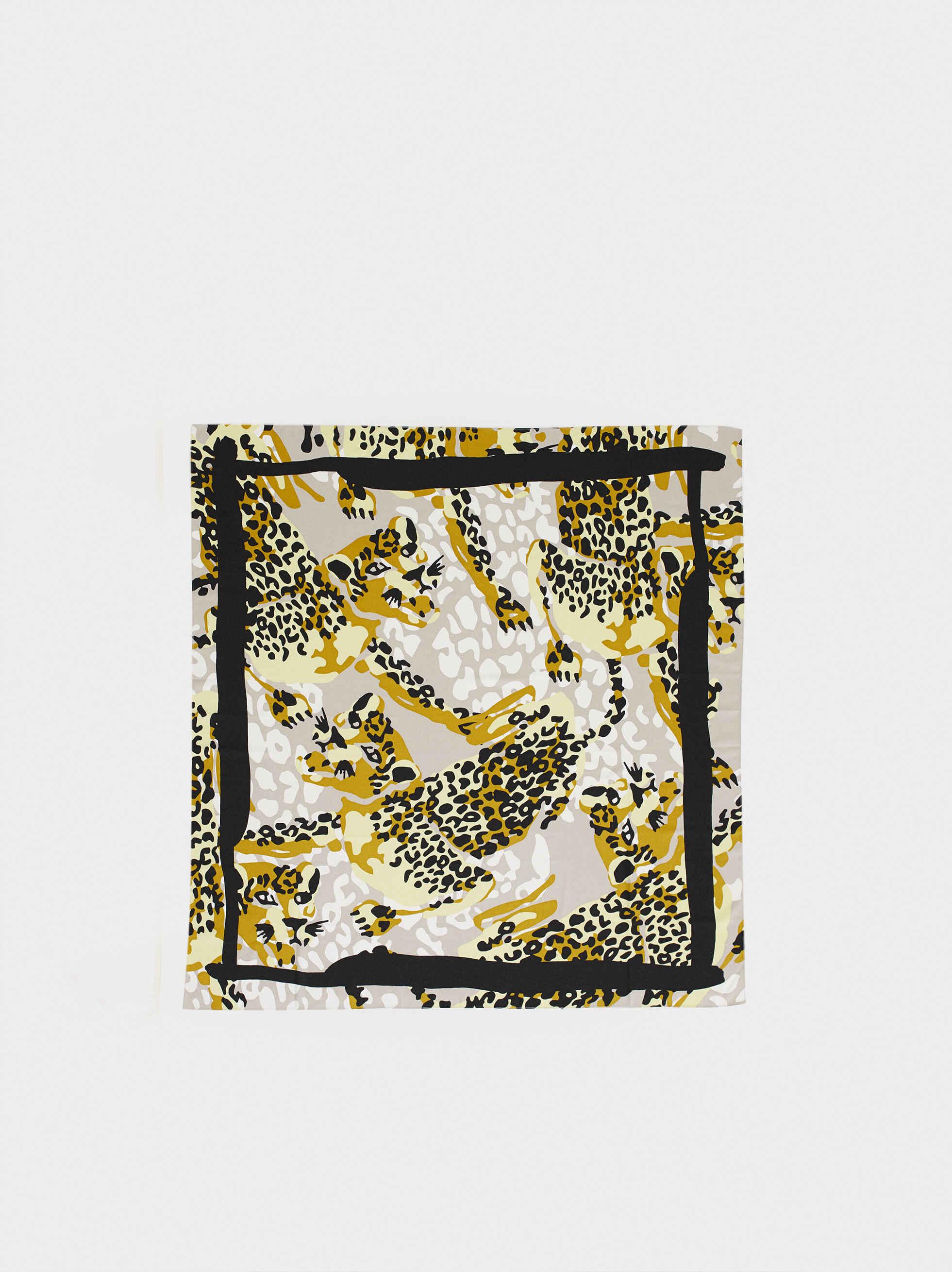 Animal Print Square Scarve, Ecru, hi-res