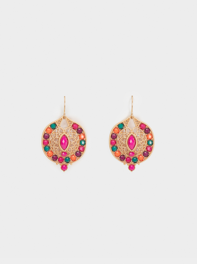 Wild Color Drop Earrings, Multicolor, hi-res