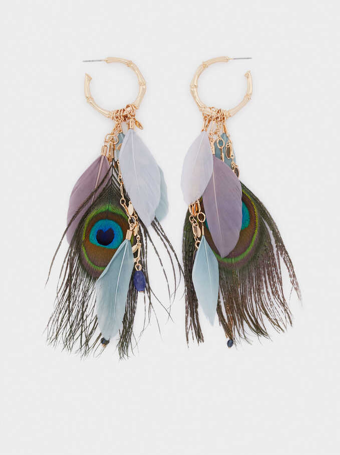 Extra-Long Hoop Earrings With Feathers, Multicolor, hi-res