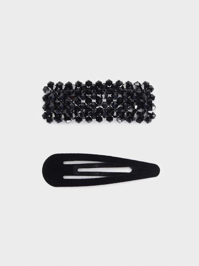 Set Of Crystal Hairpins, Black, hi-res