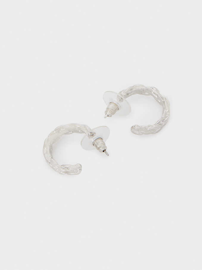 Small Woven Detail Hoop Earrings, Silver, hi-res