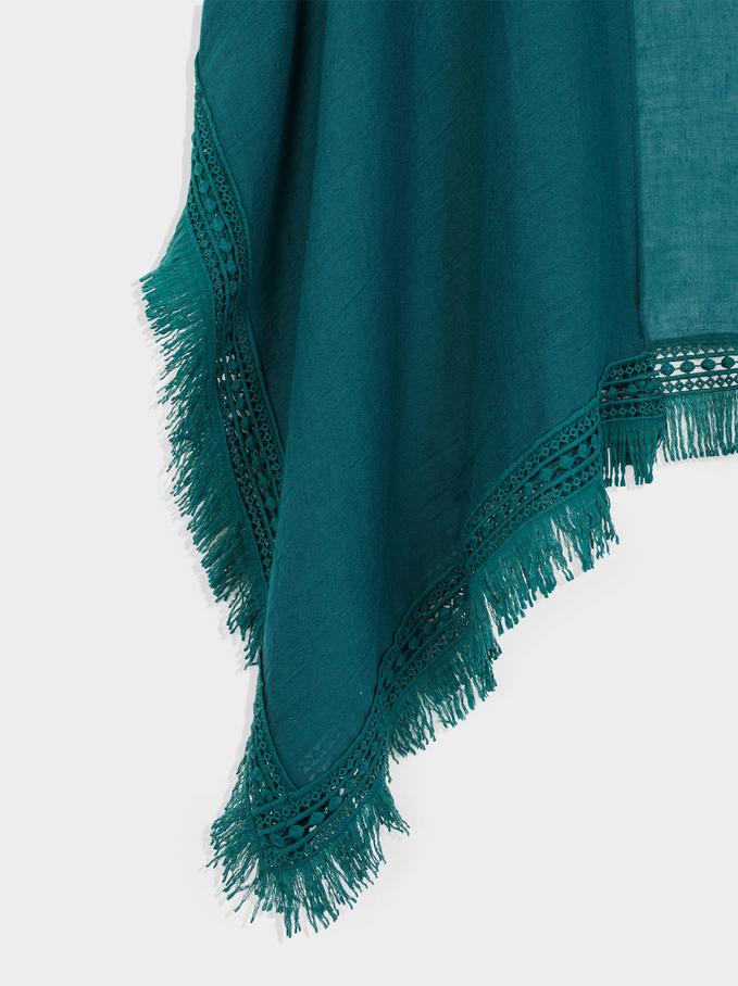 Kimono Aperto Con Frange, Verde, hi-res