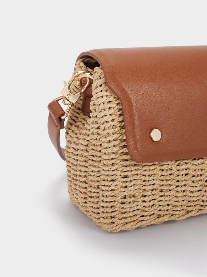 Woven Crossbody Bag, Camel, hi-res