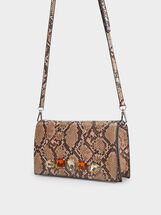Faux Snakeskin Party Clutch, Brown, hi-res