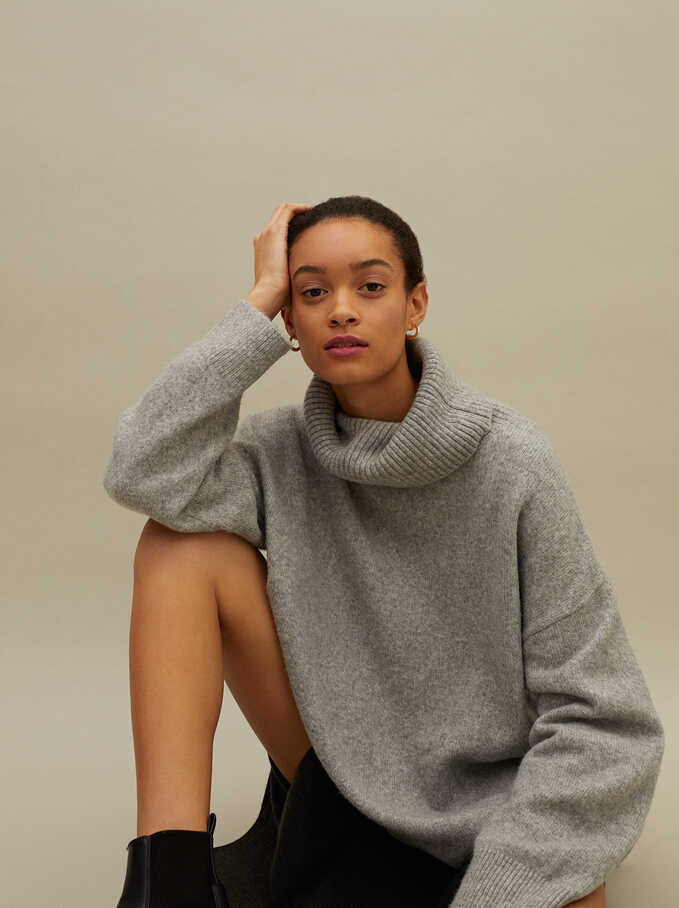 Limited Edition Knitted High Neck Sweater, Grey, hi-res