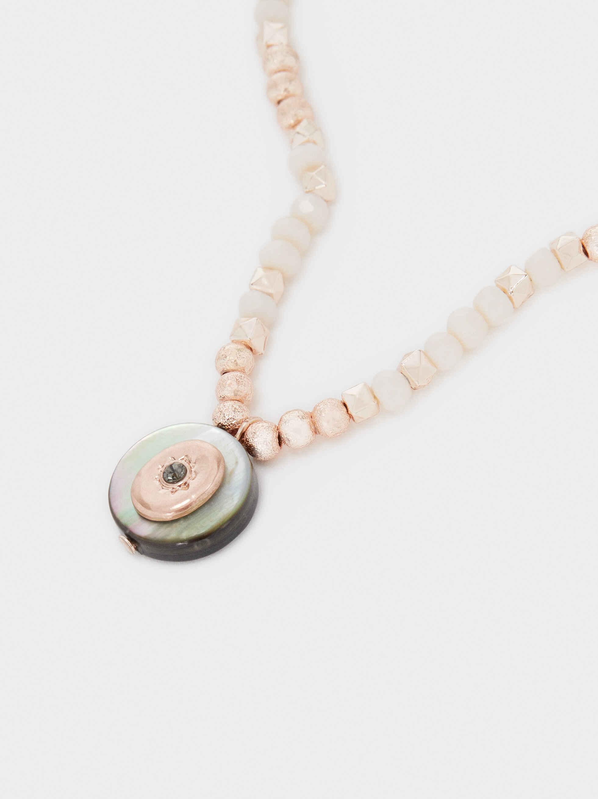 Short Rose Gold Necklace With Beading, Orange, hi-res