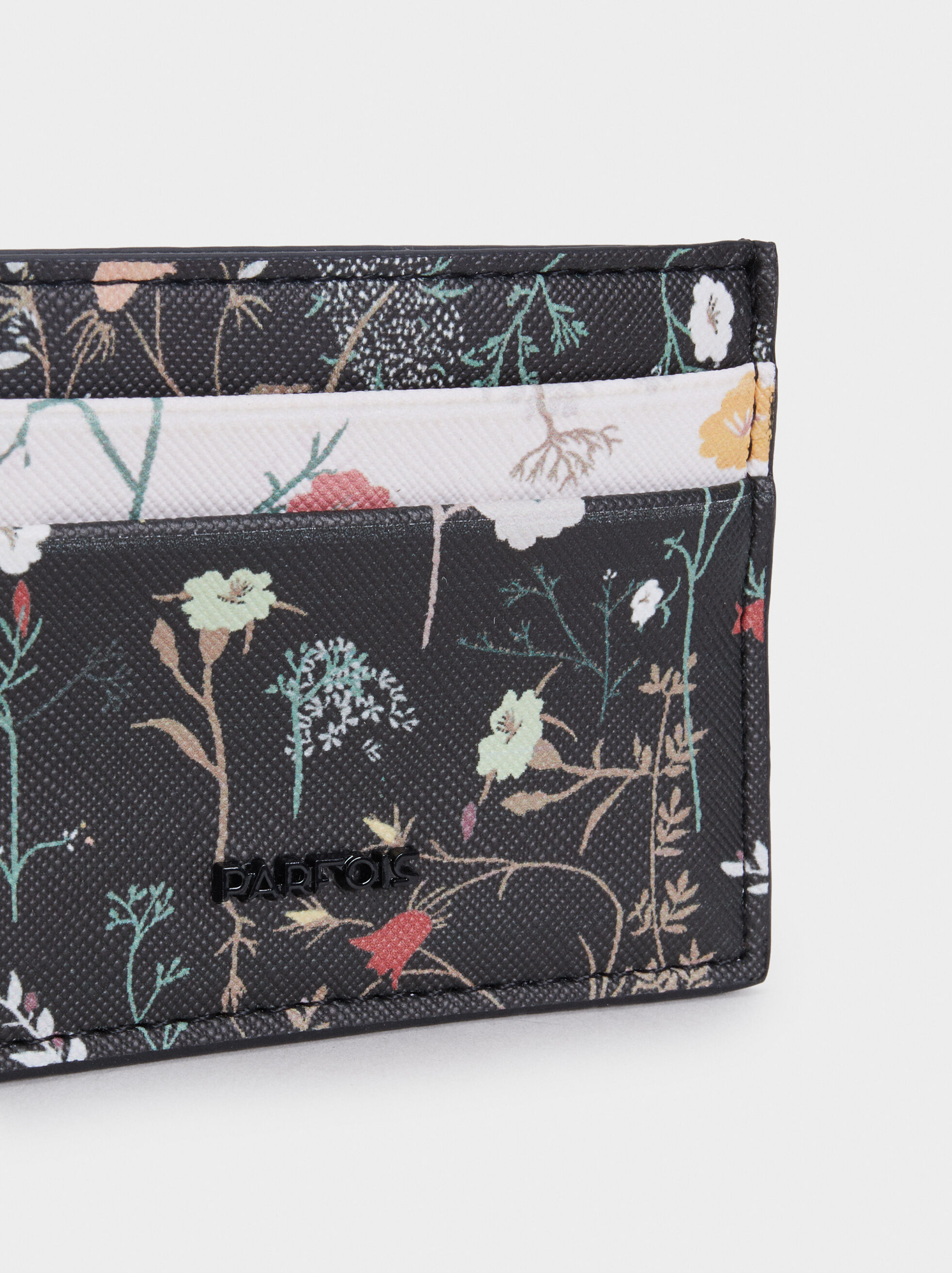 Floral Print Card Holder, Black, hi-res