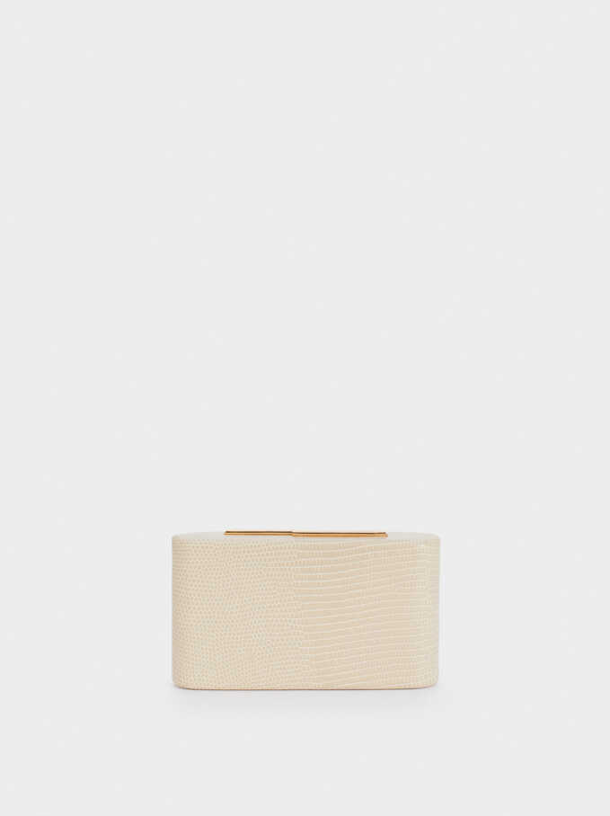 Embossed Animal-Print Party Clutch, Beige, hi-res