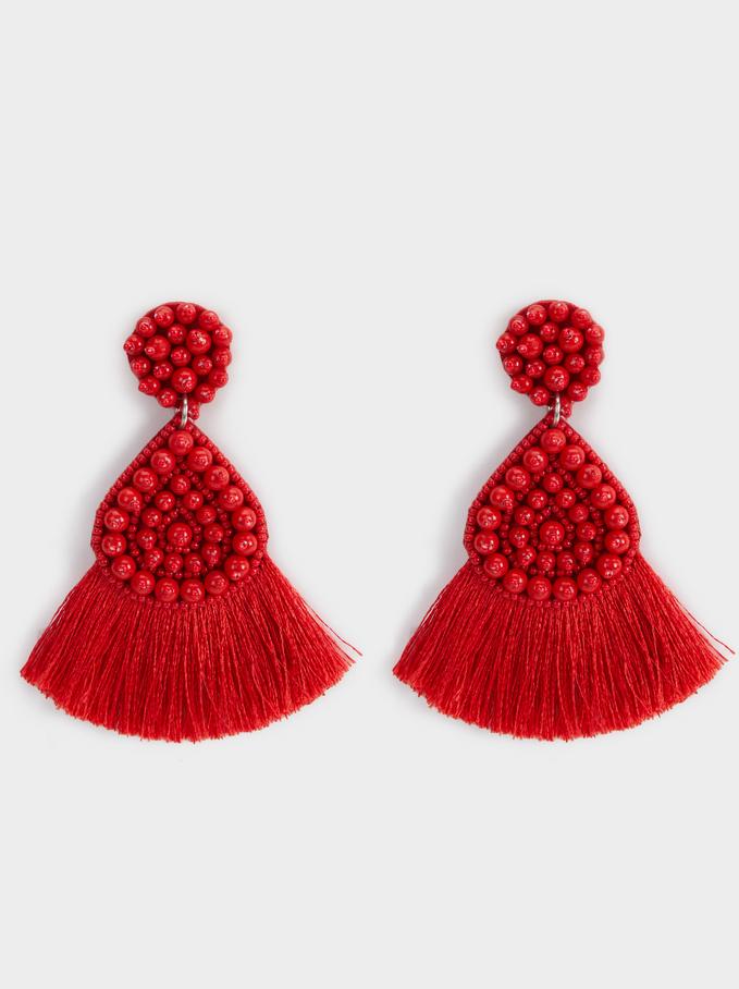 Strawberry Fields Long Fringe Earrings, Red, hi-res