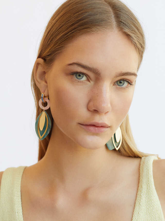 Large Leaf Hoop Earrings, Multicolor, hi-res