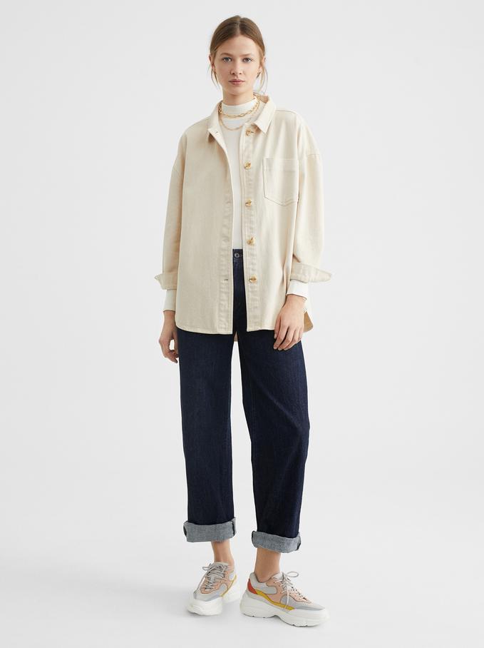 Shirt With Pocket, Ecru, hi-res