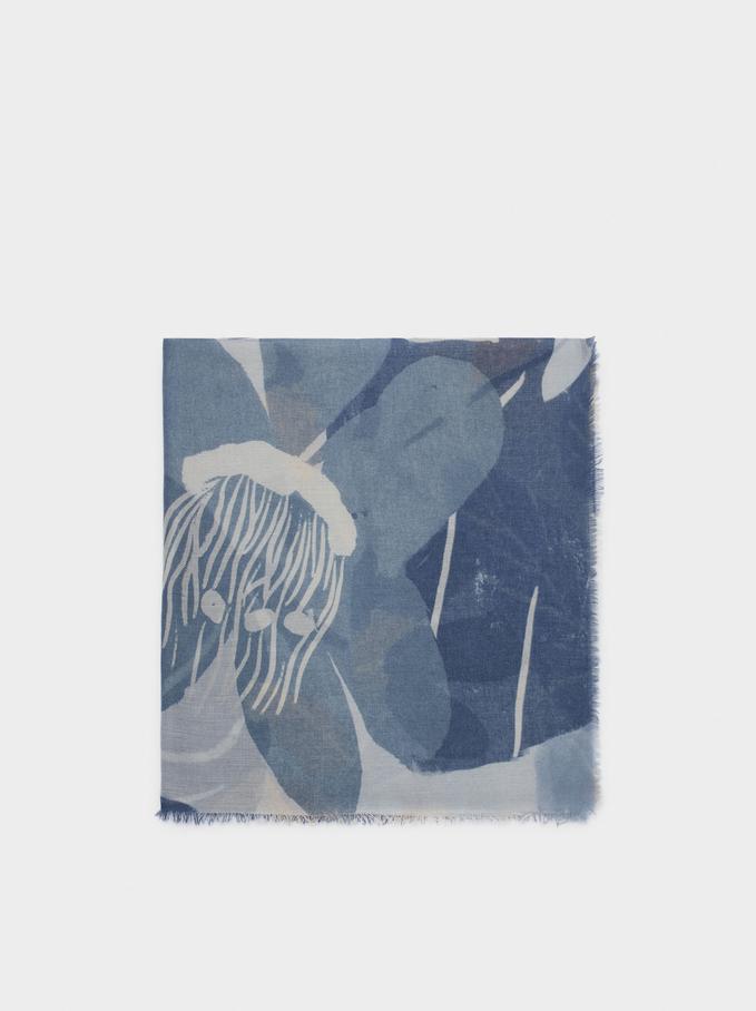 Tuch Mit Blumenprint, Blau, hi-res