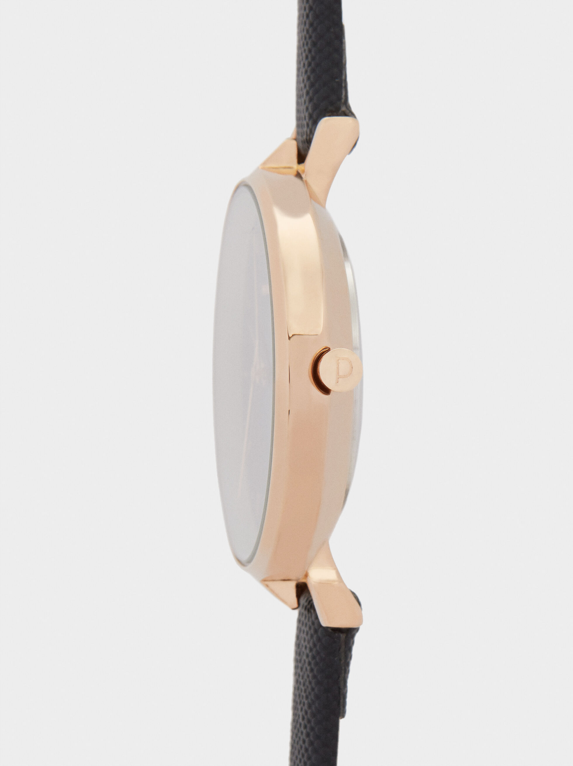 Watch With Embossed Wristband, Black, hi-res