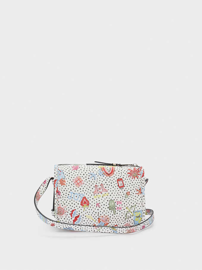 Printed Crossbody Bag With Outer Pocket, White, hi-res