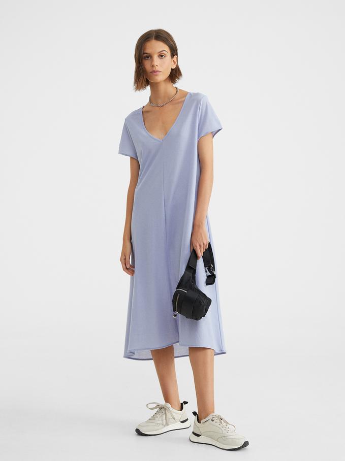 Robe Col En V, Bleu, hi-res