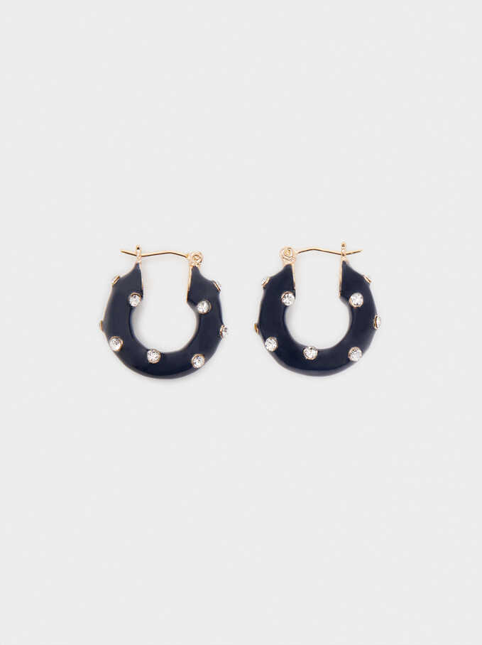 Small Hoop Earrings With Crystals, Blue, hi-res