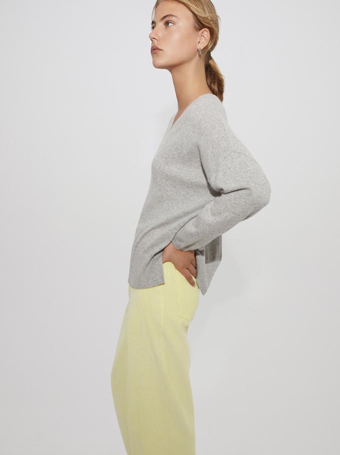 100% Cashmere V-Neck Knitted Sweater, Grey, hi-res