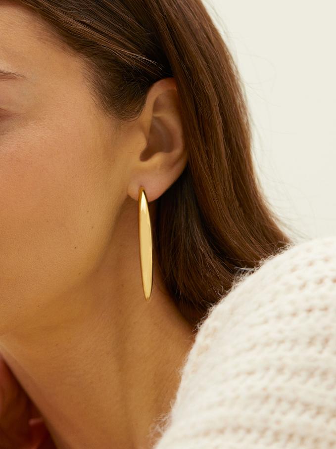 Steel Long Earrings, Golden, hi-res