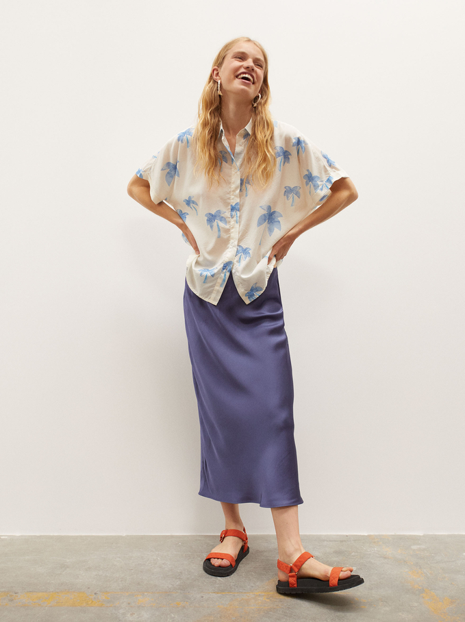 Oversize Shirt With Palm Tree Print, Ecru, hi-res