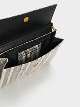 Faux Snakeskin Party Clutch, Black, hi-res