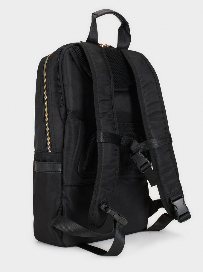 "Nylon Backpack For 15"" Laptop, Black, hi-res"