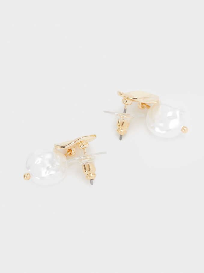 Short Gold Faux Pearl Earrings, Golden, hi-res