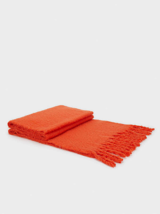 Maxi Scarf With Fringe Trim, Orange, hi-res