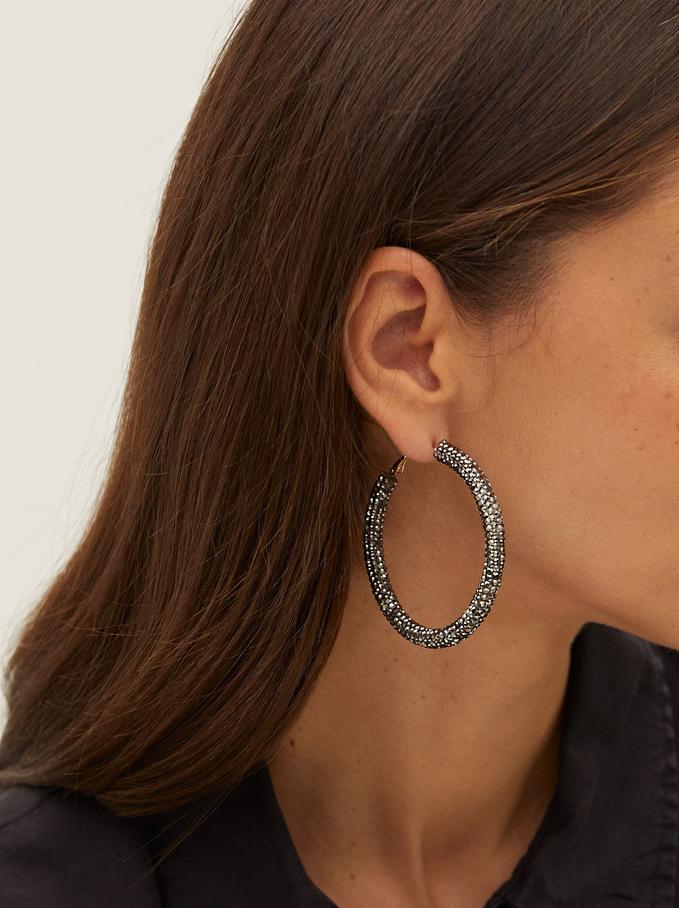 Large Hoop Earrings With Crystals, Black, hi-res