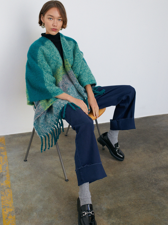 Knit Poncho With Fringes, Green, hi-res