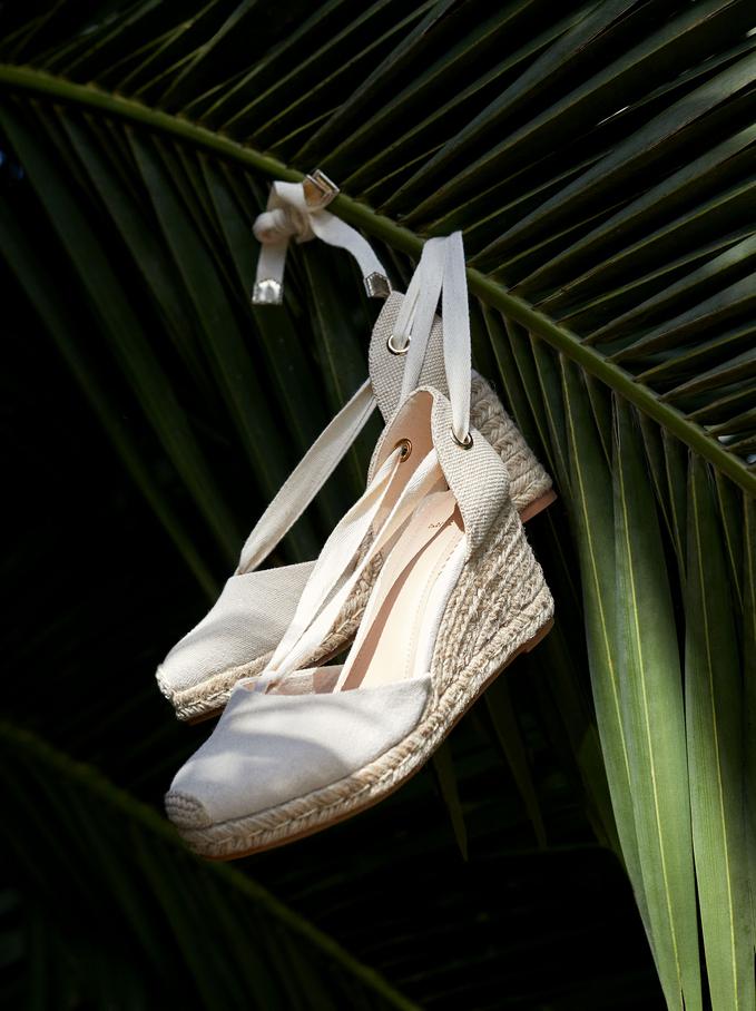 Wedge Strips Sandals, Beige, hi-res