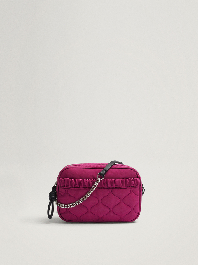 Nylon Crossbody Bag With Pleats, Pink, hi-res