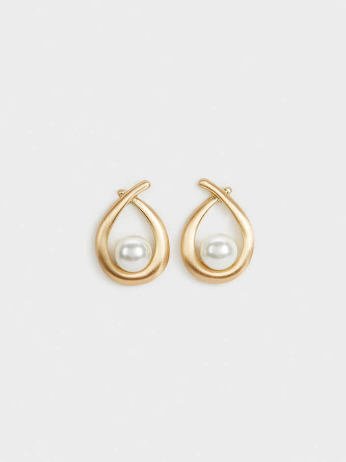 Earrings With Faux Pearls, , hi-res