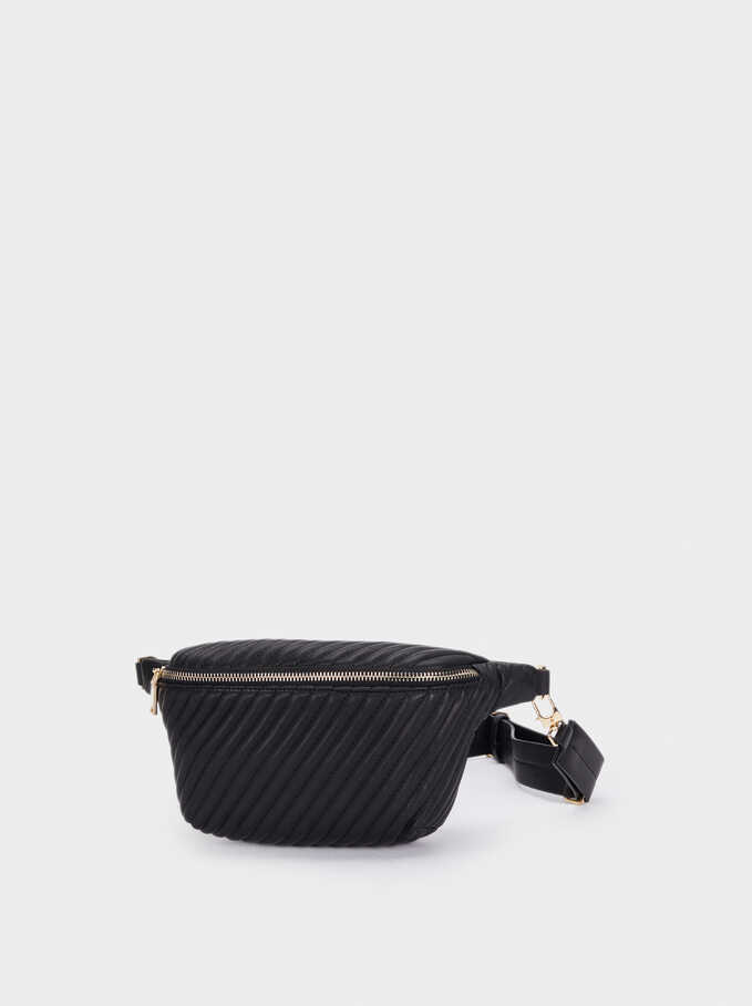 Quilted Belt Bag, Black, hi-res
