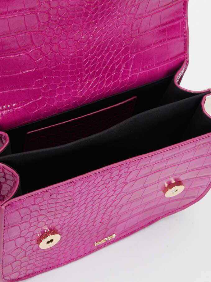 Animal Embossed Crossbody Bag, Pink, hi-res
